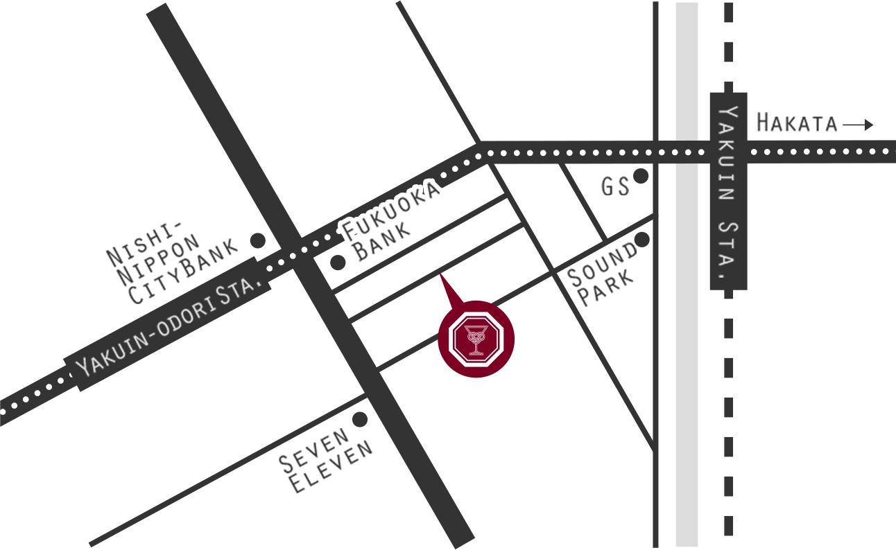 福岡市中央区 薬院 3-13-11 RAGAZZA YAKUIN 2Fにあります。最寄駅は福岡市地下鉄薬院大通駅と西鉄薬院駅です。